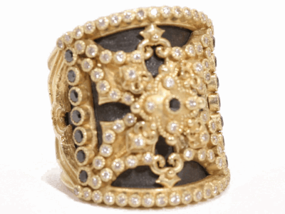 Collection: Old World Style #: 02437 Description: Old World and yellow gold Heraldry shield ring with black and white diamonds.Metal: .925 Sterling SilverS/18k Yellow Gold