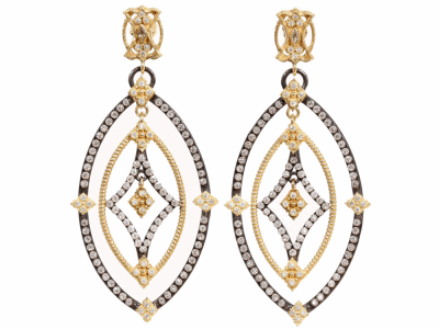 Old World MN/YG small clustered saddle earring with white and champagne diamonds and black sapphires.