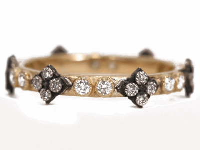 Collection: Old World Style #: 02407 Description: Gypsy Small Yellow Gold diamond stack ring with Old World Cravelli crosses.Metal: .925 Sterling SilverS/18k Yellow Gold
