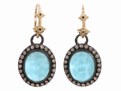 Collection: Old World Style #: 02608 Description: Blackened sterling silver and 18k yellow gold oval turquoise drop earring with diamond bezel on black diamond hook.Metal: .925 Sterling SilverS/18k Yellow Gold