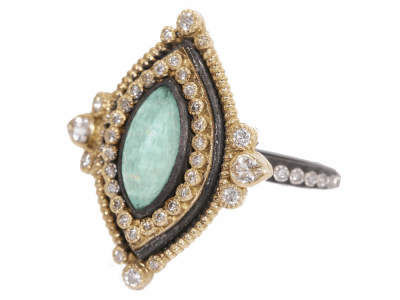 Collection: Old World Style #: 02762 Description: Old World marquis 12x6 green quartz/quartz and diamond ring on Old World eternity diamond band.Metal: .925 Sterling SilverS/18k Yellow Gold