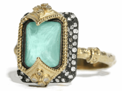Collection: Old World Style #: 02761 Description: Dulcinea Old World (.40cts) and Yellow Gold emerald cut stack ring with green turquoise and diamonds on a yellow gold sculpted band.Metal: .925 Sterling SilverS/18k Yellow Gold