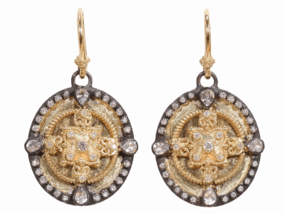 Collection: Old World Style #: 02743 Description: Heraldry small shield earring with white sapphires and white diamonds.Metal: .925 Sterling SilverS/18k Yellow Gold