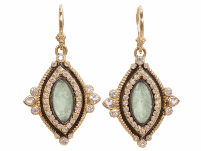 Collection: Old World Style #: 02848 Description: Old World marquis 12x6 green turquoise and diamond earrings.Metal: .925 Sterling SilverS/18k Yellow Gold