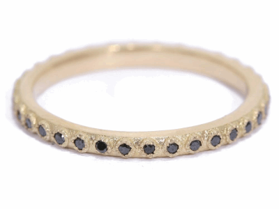Collection: Old World Style #: 03217 Description: Small (.20cts) 1mm black diamond stack ring.Metal: 18k Yellow Gold