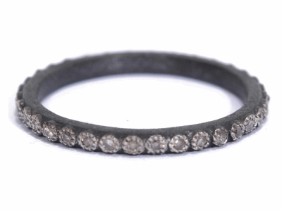 Collection: Old World Style #: 03220 Description: Small Old World 1mm champagne diamond stack ring.Metal: .925 Sterling Silver