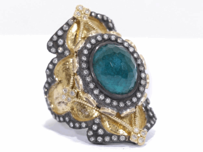 Collection: Old World Style #: 03219 Description: Old World Heraldry large shield ring with oval malachite/London blue topaz, white sapphires and diamonds on gold sculpted band.Metal: .925 Sterling SilverS/18k Yellow Gold