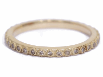 Collection: Old World Style #: 03218 Description: Small (.20cts) 1mm champagne diamond stack ring.Metal: 18k Yellow Gold