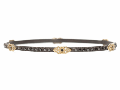 Collection: Old World Style #: 03238 Description: Old World bangle bracelet with 6 Yellow Gold scroll stations and 1mm black and white diamonds & 1.7mm black diamonds.Metal: .925 Sterling SilverS/18k Yellow Gold