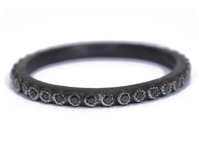 Collection: Old World Style #: 03221 Description: Small Old World 1mm black diamond stack ring.Metal: .925 Sterling Silver