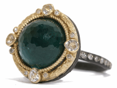 Collection: Old World Style #: 03329 Description: Old World round 12mm malachite/London Blue topaz and diamond ring on Old World eternity diamond band.Metal: .925 Sterling SilverS/18k Yellow Gold