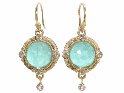 Collection: Old World Style #: 03320 Description: Blackened sterling silver and 18k yellow gold 12mm round green turquoise and diamond earrings on granulated hook.Metal: .925 Sterling SilverS/18k Yellow Gold