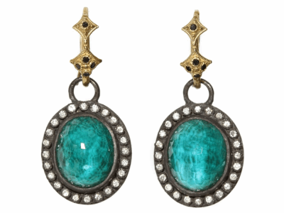 Collection: Old World Style #: 03435 Description: Old World oval malachite/London Blue topaz drop earring with diamond bezel on black diamond hook.Metal: .925 Sterling SilverS/18k Yellow Gold