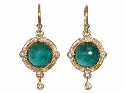 Collection: Old World Style #: 03558 Description: Blackened sterling silver and 18k yellow gold 12mm round Malachite/London Blue topaz and diamond earrings on granulated hook.Metal: .925 Sterling SilverS/18k Yellow Gold