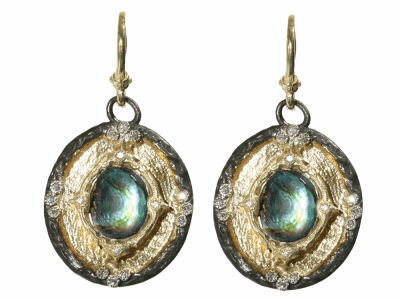 Collection: Old World Style #: 03745 Description: Yellow gold and blackened sterling silver shield earrings w/Blue Mother of Pearl/Rose of France doublet and diamonds.Metal: .925 Sterling SilverS/18k Yellow Gold