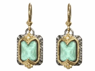Collection: Old World Style #: 03780 Description: blackened sterling silver/18k yellow gold emerald cut earrings on huggie with Green Turquoise and diamonds.Metal: .925 Sterling SilverS/18k Yellow Gold