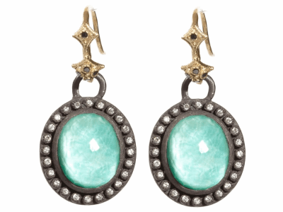 Collection: Old World Style #: 04036 Description: Blackened sterling silver and 18k yellow gold oval green turquoise drop earring with diamond bezel on black diamond hook.Metal: .925 Sterling SilverS/18k Yellow Gold
