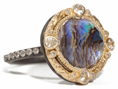 Collection: Old World Style #: 03825 Description: Midnight round 12mm Blue Mother of Pearl/Rose of France and diamond ring on blackened sterling silver eternity diamond band.Metal: .925 Sterling SilverS/18k Yellow Gold