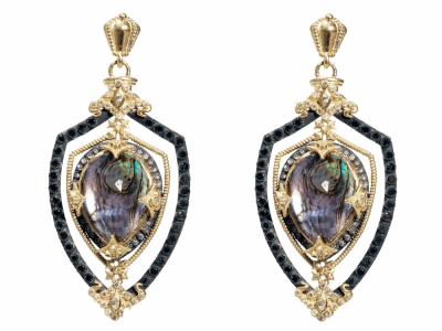 Collection: Old World Style #: 04279 Description: Blackened sterling silver and 18k yellow gold Mother of Pearl and Rose of France shield earrings with white and black diamonds and white sapphires. Diamond Weight 2.272 ct.Metal: .925 Sterling SilverS/18k Yellow Gold