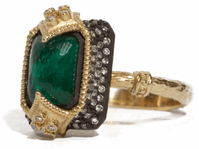 Collection: Old World Style #: 04225 Description: Blackened sterling silver and 18k yellow gold (.40cts) Dulcinea emerald cut stack ring with Malachite/London Blue topaz and diamonds on a yellow gold sculpted band.Metal: .925 Sterling SilverS/18k Yellow Gold
