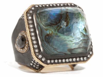 Collection: Old World Style #: 04518 Description: Blackened sterling silver and 18k yellow gold Mother of Pearl and Blue Topaz rectangle ring with white diamonds and blue-green tourmaline. Diamond Weight 0.59 ct.Metal: .925 Sterling SilverS/18k Yellow Gold