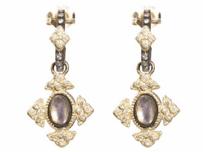 Collection: Old World Style #: 04344 Description: Blackened sterling silver and 18k yellow gold petite Mother of Pearl and Rose of France cross earrings with white diamonds. Diamond Weight 0.256 ct.Metal: .925 Sterling SilverS/18k Yellow Gold