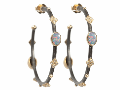 Collection: Old World Style #: 04726 Description: Blackened sterling silver and 18k yellow gold small round side hoops with Boulder Opals and diamonds.Metal: .925 Sterling SilverS/18k Yellow Gold