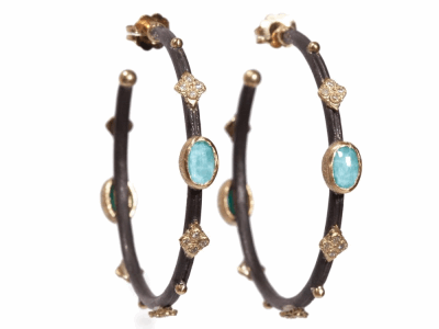 Collection: Old World Style #: 04876 Description: Blackened sterling silver and 18k yellow gold small round side hoops with Blue Turq and diamonds. (Like 2161 except with blue Turq)Metal: .925 Sterling SilverS/18k Yellow Gold