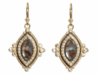 Collection: Old WorldvStyle #: 04849vDescription: Old World Blackened sterling silver and 18k yellow gold marquis 12x6 Mother of Pearl/Rose of France earrings with white diamonds and white sapphires.Metal: .925 Sterling SilverS/18k Yellow Gold