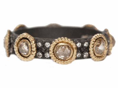 Collection: Old World Style #: 04819 Description: Blackened sterling silver and 18k yellow gold 3mm rose-cut champagne diamond stack ring with white diamonds. Diamond Weight 8.128 ct.Metal: .925 Sterling SilverS/18k Yellow Gold