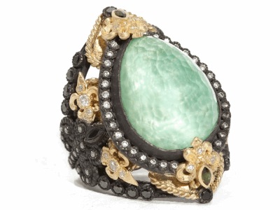 Collection: Old World Style #: 04966 Description: Blackened sterling silver and 18k yellow gold large Green Turquoise pear ring with white and black diamonds, black sapphires and blue-green tourmaline. Diamond Weight 0.842 ct.Metal: .925 Sterling SilverS/18k Yellow Gold