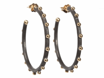 Collection: Old World Style #: 05183 Description: Blackened sterling silver and 18k yellow gold 35mm granulated hoop earrings on post.Metal: .925 Sterling SilverS/18k Yellow Gold