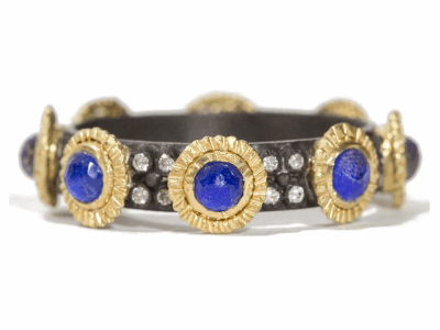 Collection: Old World Style #: 06252 Description: Blackened sterling silver and 18k yellow gold 3mm Lapis stack band with double layered 1mm white diamonds.Metal: .925 Sterling SilverS/18k Yellow Gold