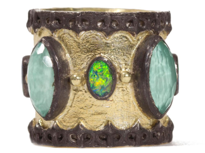 Collection: Old World Style #: 06920 Description: Blackened sterling silver and 18k yellow gold wide scalloped cigar band with marquis Green Turquoise.Metal: .925 Sterling SilverS/18k Yellow Gold