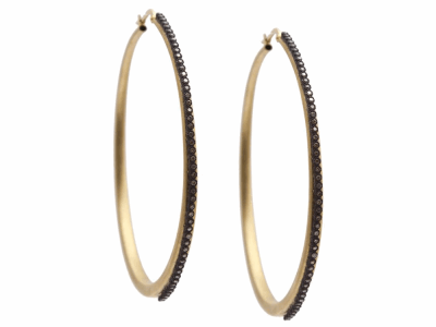Collection: Old World Style #: 10322 Description: Old World Oxidized Sterling Silver and 18K Yellow Gold 60mm side hoop earring with champagne diamonds. Diamond Weight 0.6ct