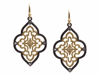 Collection: Old World Style #: 9371 Description: Old World blackened sterling silver/18k yellow gold large open scroll earring with white diamonds and white sapphires.Metal: .925 Sterling Silver/18k Yellow Gold