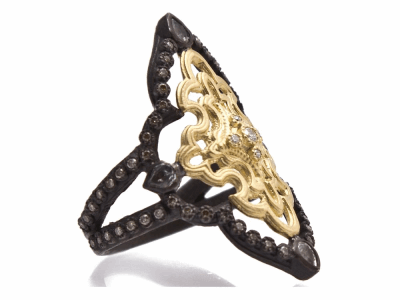 Collection: Old World Style #: 9385 Description: Old World blackened sterling silver/18k yellow gold medium open scroll ring with white and champagne diamonds and white sapphires.Metal: .925 Sterling Silver/18k Yellow Gold