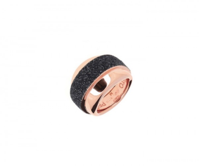 Wide Set Polvere Di Sogni Ring. Sterling Silver with an 18K Rose Gold Vermeil. Self sizing ring, prongs inside.