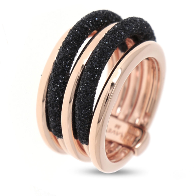 5 Band Combo Ring Polvere Di Sogni. Sterling Silver with an 18K Rose Gold Vermeil. Self sizing ring, prongs inside.