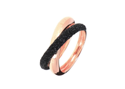 Thin Crossover Polvere Di Sogni Ring. Sterling Silver with an 18K Rose Gold Vermeil. Self sizing ring, prongs inside.