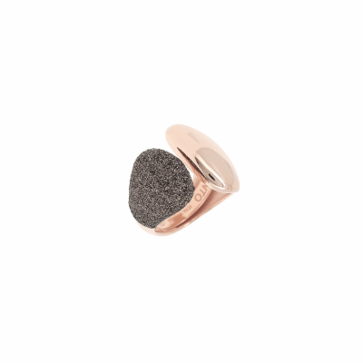 Half Polvere Di Sogni Wide Wrap Ring. Sterling Silver with an 18K Rose Gold Vermeil. Self sizing ring, prongs inside.