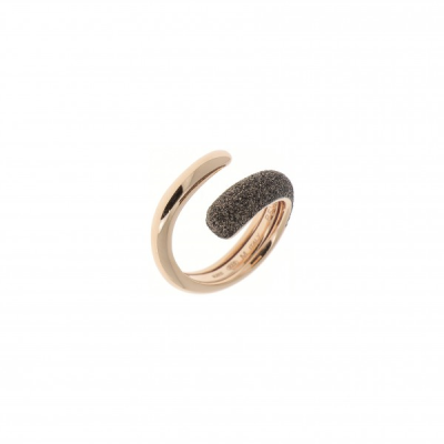Bombe Wrap Polvere Di Sogni Ring. Sterling Silver with an 18K Rose Gold Vermeil. Self sizing ring, prongs inside.