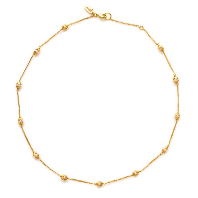 Delicate chain with twelve tiny pearls each capped with elegant golden petals. 16-17 inches. 24K gold plate. Julie Vos hallmark.