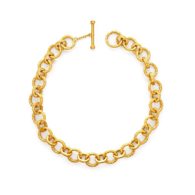 Textured links of finely carved tiny feathers, finished with a toggle. 20 inches. 24K gold plate. Julie Vos hallmark.