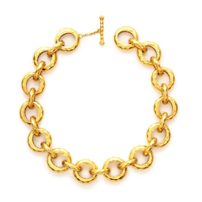 Gilded diamond pattern with a high gloss shine. Pierced open work detail on the inside of each link. 18 inches. 24K gold plate. Julie Vos hallmark