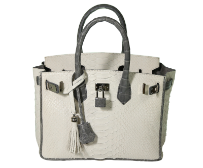 The Anna 30 - White Python with Alligator Trim is a handmade genuine exotic leather bag by 3rd generation leather artisans in California, all edges are hand painted, interior is garment suede and the bag has all italian palladium hardware.  Most bags come with a shoulder strap or can be customized to include one.  Please inquire via email or chat for more photos.