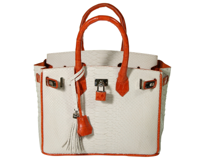 The Anna 30 - White Python with Orange Alligator Trim is a handmade genuine exotic leather bag by 3rd generation leather artisans in California, all edges are hand painted, interior is garment suede and the bag has all italian palladium hardware.  Most bags come with a shoulder strap or can be customized to include one.  Please inquire via email or chat for more photos.