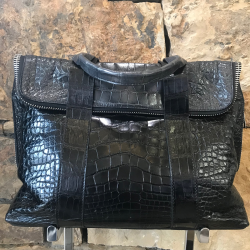 Closeup image for View Natural Python Shoulder Bag With Brown Alligator Trim By Lanae