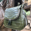 Alternate image 1 for Zippered Messenger Bag With Green Crocodile And Python Trim By Lanae