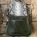 Alternate image 2 for Zippered Messenger Bag With Green Crocodile And Python Trim By Lanae